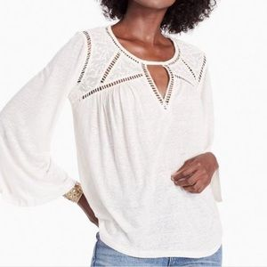 Lucky Brand lace mix peasant top NWT medium